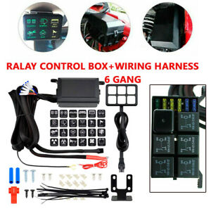 6 Led Switch Panel Relay Control Box Wiring Harness Rv Car Truck W 12v Power