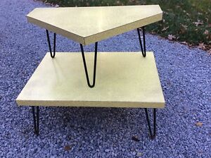 Vtg Yellow Formica 2 Tier Mid Century Modern Corner Table Metal Legs Very Good