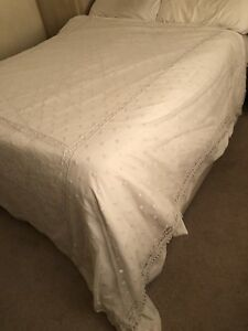 Antique Lace Throw Veil Bedspread Bed Cover Silk Net 1920s Tasselled French Old