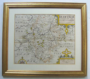 Bedfordshire Original Antique Map By Saxton And Kip 1610