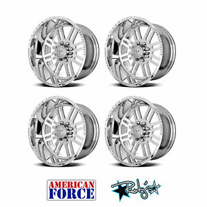 4 24x12 American Force Polished Ss8 Rebel Wheels For Chevy Gmc Ford Dodge