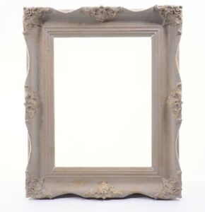 Vintage Large Picture Frame Wooden Painted Gilded Gold Red Gray Baroque
