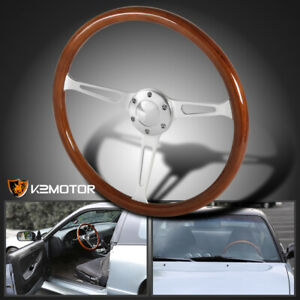 380mm 15 Polished Wood Plastic Composite Classic Steering Wheel Horn Button