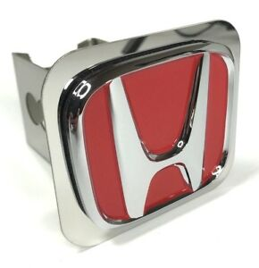 Red Honda Emblem Tow Hitch Cover Licensed Stainless Steel 1 1 4 Trailer Plug