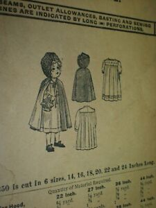 1913 Mccalls No 4350 Dolls Red Riding Hood Set Sewing Pattern 16 L Credit Card