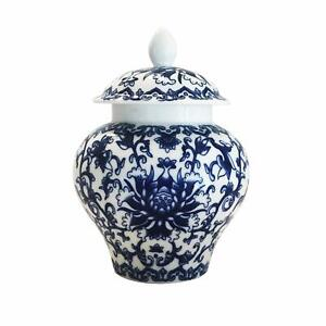 Ancient Chinese Style Blue And White Porcelain Helmet Shaped Temple Jar Small