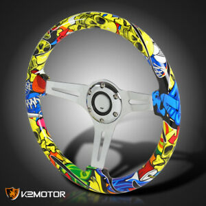 350mm 6 bolt Sport Racing 3 spoke Wood Yellow Skull Graffiti Steering Wheel
