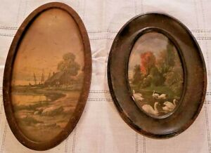 2 Small Vintage Oval Pictures In Frames Swans Swimming Nature Scenery