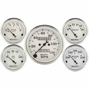 Autometer Gauge Kit Old Tyme White Speedometer Water Temp Fuel Level Volt Oil