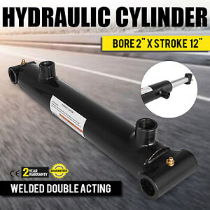 Hydraulic Cylinder Welded Double Acting 2 Bore 12 Stroke Cross Tube End New