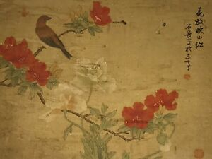 Rare Antique Chinese Silk Paper Watercolor Painting Bird Signed