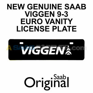New Saab Euro Vanity License Plate Viggen Logo Text Rare Dealer Accessory