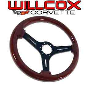 68 75 77 82 Corvette Mahogany Steering Wheel Black Spokes With Tilt Tele Column