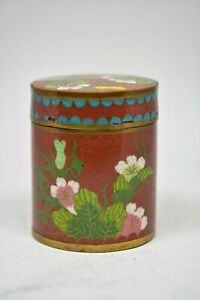 Antique Chinese Export Cloisonne Tea Tobacco Box 3 Inches Tall