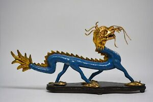 Vintage Chinese Cloisonn Dragon Figurine 10 Inches Long