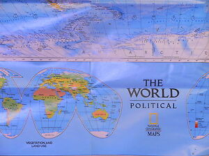 Vintage 1997 National Geographic Map Of The Political And Physical World