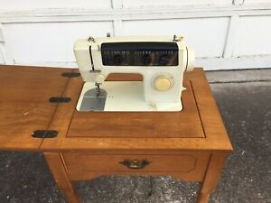 Vintage 1960 S Jcpenny Sewing Machine And Cabinet In Working Order