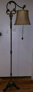 Antique Early Victorian Cast Iron Bridge Arm Footed Floor Lamp