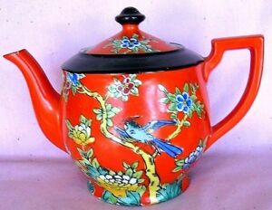 Japanese Vintage Teapot Nice Bright Colors Bird In Foilage Signed