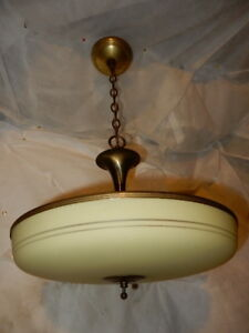 Lightolier Chandelier Decorated In Original Finish W 17 Dia Streamlined Shade