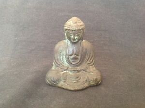 Vintage Japanese Cast Bronze 8cm Tall Buddha