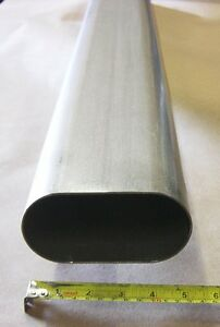 4 Inch Oval 304 Stainless Exhaust Tubing 2 4ft 8 Ft Total Straight 304ss