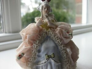 Vintage Dresden Germany Lace Figurine Lady Sitting On Chair