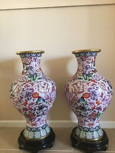 Extra Large Chinese Cloisonne Vase 31 Inches Pair