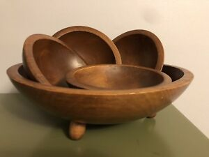 Woodcroftery Salad Bowl 4 Small Matching Bowls Set 3 Footed Vtg Wood Oval Mcm