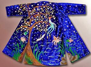 Exceptional Uzbek Silk Embroidered Robe Chapan Blossoming Cherry