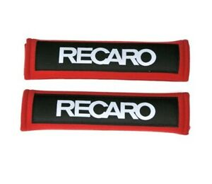 2pcs Red Recaro Racing Soft Cotton Embroidery Seat Belt Cover Shoulder Pads New