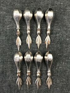 Set Of 4 Pairs Antique Sterling Silver Corn Cob Holders G Monogram 8 Pieces