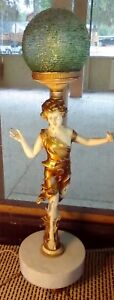 Vintage Antique Art Nouveau Figural Lady Woman Lamp Marble Base Heavy