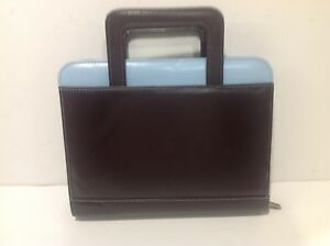 Classic 1 Rings Franklin Covey Day One Blue brown Planner W Handles Binder Zip