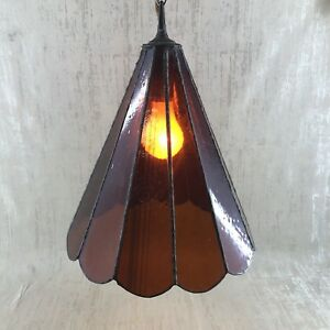 Antique Tiffany Style Amber Stained Glass 14 Hanging Ceiling Lamp Vintage