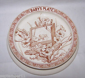 Antique Linnaeus K Co 1880 Brown Transferware Aesthetic Movement Baby S Plate