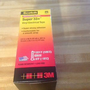 Scotch Super 33 Vinyl Electrical Tape 3 4 X 66 Ft 10 Rolls