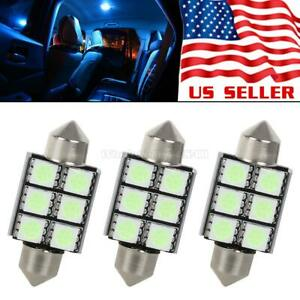 3x Ice Blue 36mm Canbus No Error Dome Map Light Led Bulb Festoon 6 Smd Lamp