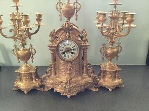 Antique French Baroque Style Large Bronze Clock With Candelabras Circa Mid 19 C