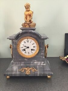 Antique French Grey Marble Clock With Gilt Bronze Figurine Early 20 C