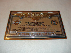 Harley Davidson Eagle Auto License Plate Tag Frame With 24k Gold Detail