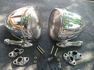 New Set Right Left Chrome Metal Vintage Style Dummy Spot Lights 86