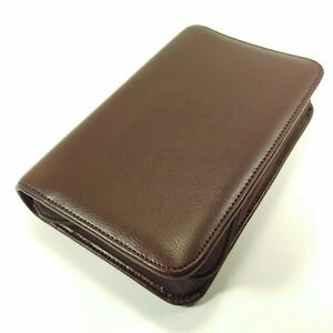 Day timer Portable Brown Leather Zip Planner Daytimer Fits Filofax Personal