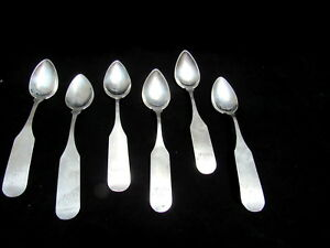 Antique Set Of 6 Coin Silver 5 1 2 Teaspoons Or Grapefruit Spoons No Mfr Mark
