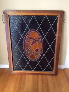 Wood Framed Vintage Antique Leaded Stained Glass Window Panel With Z Crest