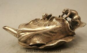8 Marked China Chinese Dynasty Silver Cabbage Frog Water Wine Tea Pot Flagon