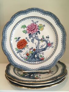 Antique Blue And White Scalloped Plates 4 By Losol C1900 Lovely