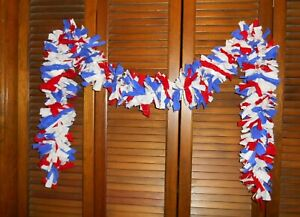 Usa Red White Blue Rag Garland 6 Ft Country Prim Shabby Patriotic July 4th