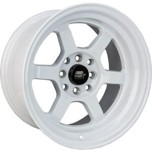 15x8 White Mst Time Attack Wheels 4x100 4x4 5 0 Fits Ford Mustang 4 Lug Only