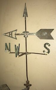 Rare Antique Weather Vane With Directional Spinner Arrow Topper Wow Scarce